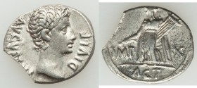 Augustus (27 BC-AD 14). AR denarius (20mm, 3.59 gm, 7h). VF, cut. Lugdunum, 15-13 BC. AVGVSTVS DIVI•F, bare head of Augustus right / IMP-X, Apollo Cit...