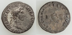 Nerva (AD 96-98). AR denarius (18mm, 3.34 gm, 7h). VF, verdigris. Rome, AD 97. IMP NERVA CAES AVG-P M TR II COS III P P, laureate head of Nerva right ...