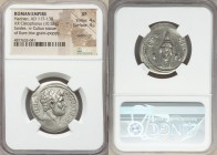 Hadrian (AD 117-138). AR cistophorus (27mm, 10.53 gm, 6h). NGC  XF 4/5 - 4/5, overstruck. Sardes, after AD 128. HADRIANVS-AVGVSTVS P P, bare head of H...