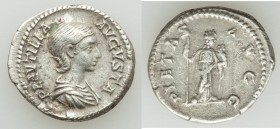 Plautilla (AD 202-205). AR denarius (19mm, 3.55 gm, 1h). About VF. Rome, under Septimius Severus and Caracalla, AD 202-203. Draped bust of Plautilla r...