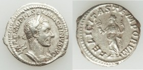 Macrinus (AD 217-218). AR denarius (19mm, 2.88 gm, 5h). VF. Rome. IMP C M OPEL SEV MACRINVS AVG, laureate, draped and cuirassed bust of Macrinus right...