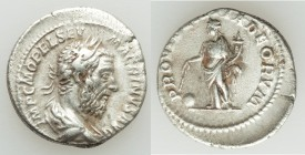 Macrinus (AD 217-218). AR denarius (19mm, 3.47 gm, 6h). VF. Rome, AD 218. IMP C M OPEL SEV MACRINVS AVG, laureate and draped bust of Macrinus right / ...