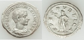 Diadumenian, as Caesar (AD 217-218). AR denarius (21mm, 2.84 gm, 11h). XF. Rome, AD 218. M OPEL ANT DIADVMENIAN CAES, bareheaded and draped bust right...
