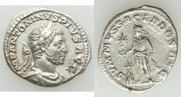 Elagabalus (AD 218-222). AR denarius (18mm, 2.90 grams, 8h). XF. Rome, AD 218-222. IMP ANTONINVS PIVS AVG, laureate, draped and cuirassed bust of Elag...