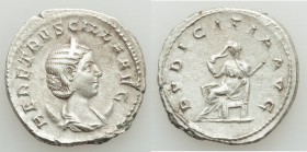 Herennia Etruscilla (AD 249-253). AR antoninianus (22mm, 5.00 gm, 12h). VF Rome. HER ETRVSCILLA AVG, draped bust of Herennia Etruscilla right on cresc...