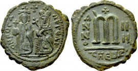 PHOCAS with LEONTIA (602-610). Follis. Theoupolis (Antioch). Dated RY 4 (605/6).
