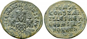 BASIL I THE MACEDONIAN with LEO VI and CONSTANTINE (867-886). Follis. Constantinople.