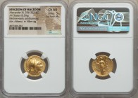 MACEDONIAN KINGDOM. Alexander III the Great (336-323 BC). AV stater (19mm, 8.59 gm, 11h). NGC Choice AU 5/5 - 4/5. Lifetime or early posthumous issue ...