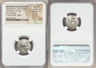 MACEDONIAN KINGDOM. Alexander III the Great (336-323 BC). AR drachm (17mm, 4.34 gm, 6h). NGC Choice XF 4/5 - 5/5. Lifetime issue of Miletus, ca. 325-3...