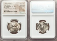ATTICA. Athens. Ca. 465-455 BC. AR tetradrachm (25mm, 17.14 gm, 11h). NGC Choice VF 4/5 - 3/5. Head of Athena right, wearing crested Attic helmet orna...
