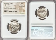 ATTICA. Athens. Ca. 455-440 BC. AR tetradrachm (23mm, 17.11 gm, 8h). NGC XF 4/5 - 4/5. Early transitional issue. Head of Athena right, wearing crested...