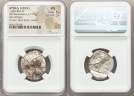 ATTICA. Athens. Ca. 440-404 BC. AR tetradrachm (22mm, 17.21 gm, 1h). NGC MS 5/5 - 3/5. Mid-mass coinage issue. Head of Athena right, wearing crested A...