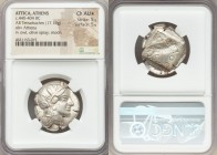 ATTICA. Athens. Ca. 440-404 BC. AR tetradrachm (25mm, 17.19 gm, 8h). NGC Choice AU S 5/5 - 5/5. Mid-mass coinage issue. Head of Athena right, wearing ...