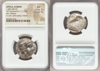 ATTICA. Athens. Ca. 440-404 BC. AR tetradrachm (23mm, 17.20 gm, 7h). NGC AU 5/5 - 5/5. Mid-mass coinage issue. Head of Athena right, wearing crested A...