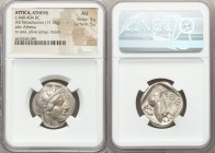 ATTICA. Athens. Ca. 440-404 BC. AR tetradrachm (24mm, 17.18 gm, 10h). NGC AU 5/5 - 5/5. Mid-mass coinage issue. Head of Athena right, wearing crested ...