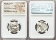 ATTICA. Athens. Ca. 440-404 BC. AR tetradrachm (23mm, 17.16 gm, 10h). NGC Choice XF 5/5 - 3/5. Mid-mass coinage issue. Head of Athena right, wearing c...
