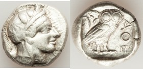 ATTICA. Athens. Ca. 440-404 BC. AR tetradrachm (24mm, 17.19 gm, 2h). VF. Mid-mass coinage issue. Head of Athena right, wearing crested Attic helmet or...