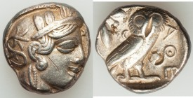 ATTICA. Athens. Ca. 440-404 BC. AR tetradrachm (22mm, 17.16 gm, 9h). VF, test cut, bankers mark, scratch. Mid-mass coinage issue. Head of Athena right...