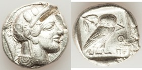 ATTICA. Athens. Ca. 440-404 BC. AR tetradrachm (25mm, 17.19 gm, 7h). VF, test cut Mid-mass coinage issue. Head of Athena right, wearing crested Attic ...