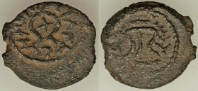 JUDAEA. Herodians. Herod I (40-4 BC). AE prutah (20mm, 3.26 gm, 12h). VF. ΗPΩΔOΥ ΒΑCΙΛΕΩC, cross within open diadem / Tripod table flanked by palm bra...