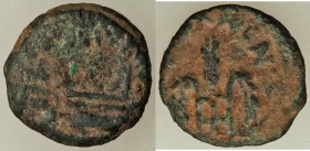 JUDAEA. Roman Procurators. Pontius Pilate (AD 26-36). AE prutah (15mm, 1.70 gm, 12h). About VF. Jerusalem, dated Regnal Year 16 of Tiberius (AD 29/30)...