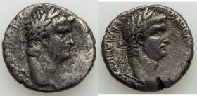 SYRIA. Antioch. Nero (AD 54-68), with Divus Claudius (died AD 54). AR tetradrachm (25mm, 13.82 gm, 12h). VF, test cut, scratches. AD 63-68. NERO CLAVD...
