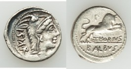 L. Thorius Balbus (ca. 105 BC). AR denarius (20mm, 3.77 gm, 8h). VF, scratch. Rome. I•S•M•R, head of Juno Sospita right, clad in goat-skin / L•THORIVS...