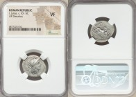 L. Julius (ca. 101 BC). AR denarius (19mm, 7h). NGC VF. Rome. Head of Roma right, wearing winged helmet decorated with griffin crest; grain ear behind...