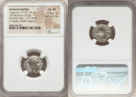 Augustus (27 BC-AD 14). AR denarius (18mm, 3.63 gm, 7h). NGC Choice VF 4/5 - 4/5. Spain (Tarraco?), ca. 19-18 BC. CAESAR-AVGVSTVS, bare head of August...
