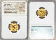 Nero (AD 54-68). AV aureus (19mm, 7.58 gm, 4h). NGC Choice VF 4/5 - 1/5, plugged, smoothing, edge marks. Rome, December AD 61-December AD 62. NERO•CAE...