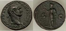 Domitian, as Caesar (AD 81-96). AE as (29mm, 12.05 gm, 7h). XF. Lugdunum, AD 77-78. CAESAR AVG F DOMITIANVS COS V, laureate head of Domitian right; gl...
