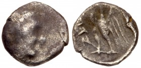 Judaea, Ptolemaic occupation. Ptolemy II Philadelphos. Silver 1/4 Ma'ah Obol - Tetartemorion (0.18 g), 285-246 BC. VF