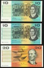 Australia Commonwealth of Australia $10 ND (1968) Pick 40c Very Fine-Extremely Fine; $10 ND (1976) Pick 45b Choice About Uncirculated; $20 ND (1979) P...