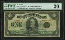 Canada Dominion of Canada $1 1923 DC-25f PMG Very Fine 20. Number written on face.  HID09801242017