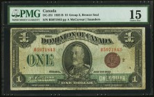 Canada Dominion of Canada $1 1923 DC-25i PMG Choice Fine 15. Pencilled number written on face.  HID09801242017