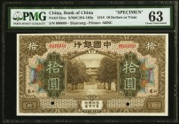 China Bank of China 10 Yuan 9.1918 Pick 53n S/M#C294-102ns Specimen PMG Choice Uncirculated 63. Two POCs.  HID09801242017