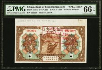 China Bank of Communications 1 Yuan 1.10.1914 Pick 116v S/M#C126 PMG Gem Uncirculated 66 EPQ. Two POCs; printer's stamp.  HID09801242017