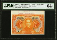 China Central Bank of China 1 Dollar 1923 Pick 172s S/M#C305-3 Specimen PMG Choice Uncirculated 64 EPQ. Printer's stamp; two POCs.  HID09801242017