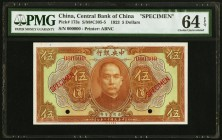 China Central Bank of China 5 Dollars 1923 Pick 173s S/M#C305-5 Specimen PMG Choice Uncirculated 64 EPQ. Two POCs.  HID09801242017