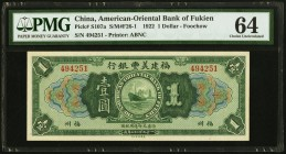China American-Oriental Bank of Fukien 1 Dollar 16.9.1922 Pick S107a PMG Choice Uncirculated 64.   HID09801242017