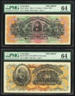 Costa Rica Banco Anglo Costarricense 5; 20 Colones 1903-17; ND (1909-17) Pick S122s1; S124s3 Two Specimens PMG Choice Uncirculated 64. Pick S122s1; st...