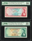 East Caribbean States Currency Authority 1; 5 Dollar ND (1965) Pick 13a; 14d PMG Choice About Unc 58; About Uncirculated 55.   HID09801242017