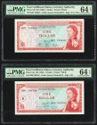 East Caribbean States Currency Authority 1 Dollar ND (1965) Pick 13f; 13g Two Examples PMG Choice Uncirculated 64 EPQ.   HID09801242017