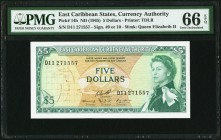 East Caribbean States Currency Authority 5 Dollars ND (1965) Pick 14h PMG Gem Uncirculated 66 EPQ.   HID09801242017