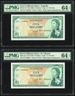 East Caribbean States Currency Authority, Anguilla 5 Dollars ND (1965) Pick 14o; 14p Two Examples PMG Choice Uncirculated 64 EPQ.   HID09801242017