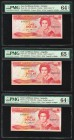 East Caribbean States Central Bank, Antigua 1 Dollar ND (1985-88); ND (1988-89) Pick 17a; 21u (2) Three Examples PMG Choice Uncirculated 64 EPQ (2); G...