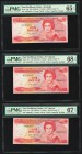 East Caribbean States Central Bank, Grenada 1 Dollar ND (1985-88) Pick 17g; 17v (2) Three Examples PMG Gem Uncirculated 65 EPQ; Superb Gem Unc 68 EPQ;...