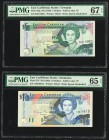 East Caribbean States Central Bank, Grenada, Dominica 5; 10 Dollars ND (1993) Pick 26g; 27d Two Examples PMG Superb Gem Unc 67 EPQ; Gem Uncirculated 6...