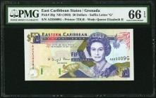 East Caribbean States Central Bank, Grenada 50 Dollars ND (1993) Pick 29g PMG Gem Uncirculated 66 EPQ.   HID09801242017