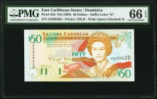 East Caribbean States Central Bank, Dominica 50 Dollars ND (1994) Pick 34d PMG Gem Uncirculated 66 EPQ.   HID09801242017